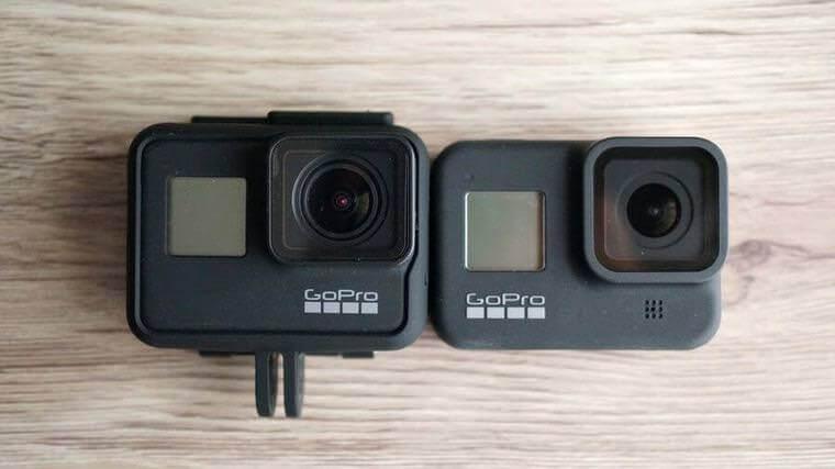 GoPro HERO8 BlackとHERO7 Blackの大きさをフレームありで比較