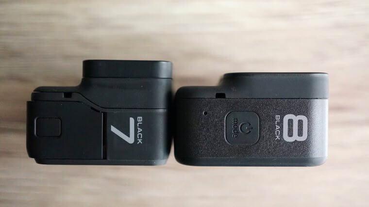 GoPro HERO8 BlackとHERO7 Blackのレンズ部分の厚み