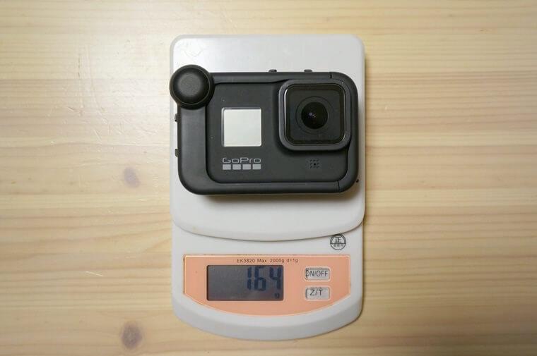 GoProメディアモジュラーにHERO8を装着した時の重さ