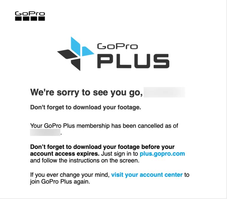 GoPro Plusのキャンセル完了メール
