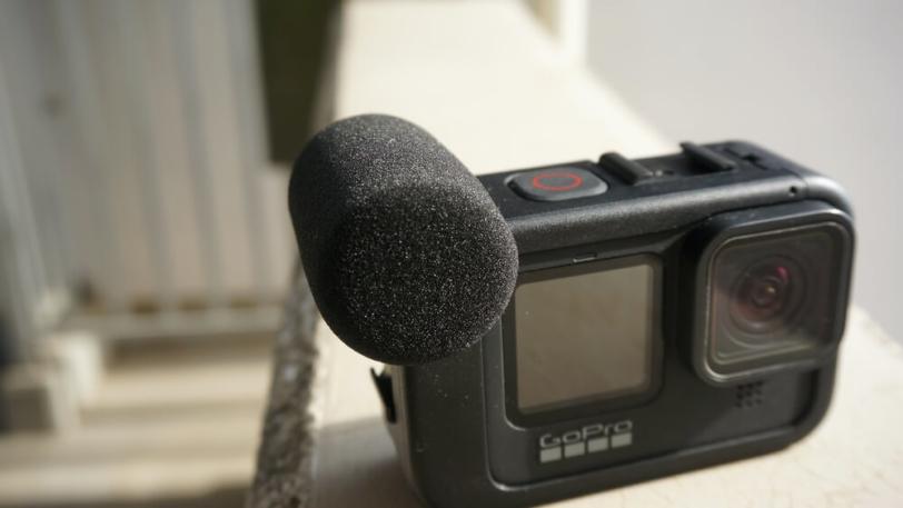 GoPro HERO9用メディアモジュラーに風防スポンジを装着