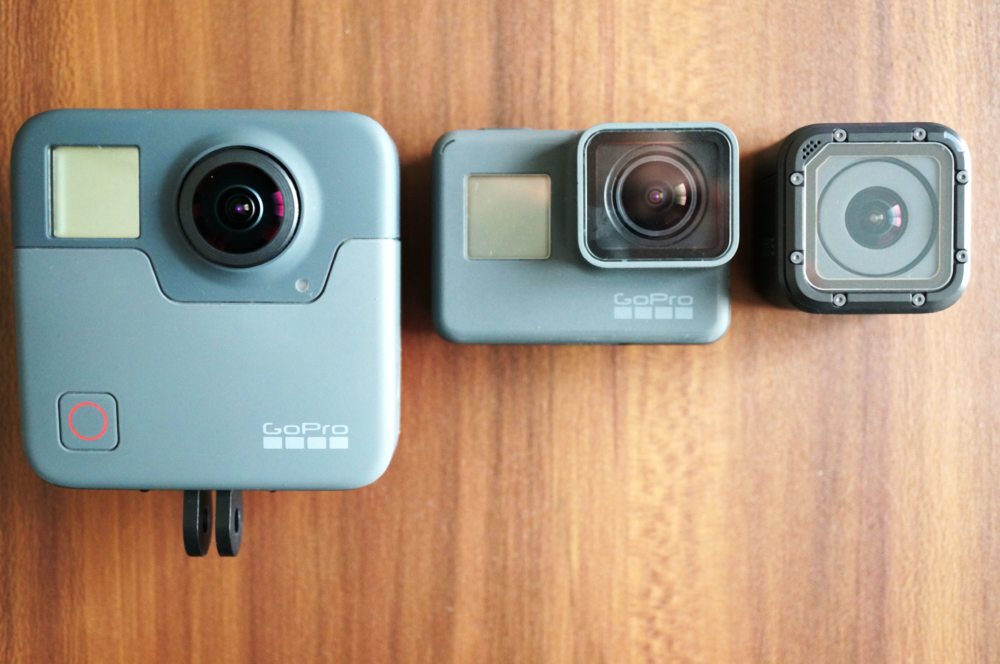 GoPro FusionとHERO6、HERO5 Sessionを並べて撮影