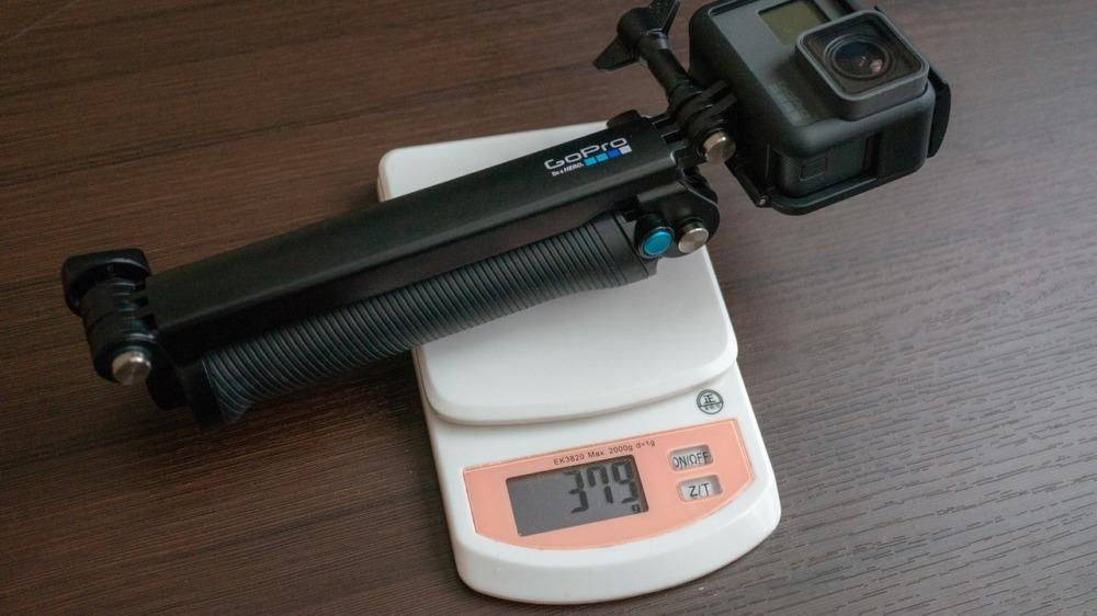 GoPro純正3-WayとGoProを組み合わせた重さ