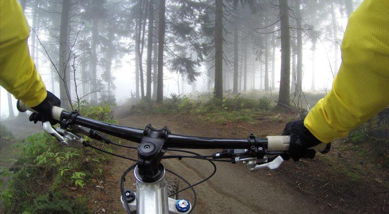 自転車に乗っているところ