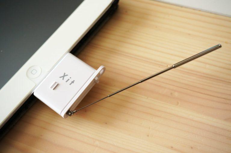 ピクセラサイトスティックをiPadに装着してアンテナを伸ばしたところ