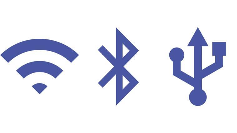 Wi-FiとBluetooth、USBのアイコンを並べたところ
