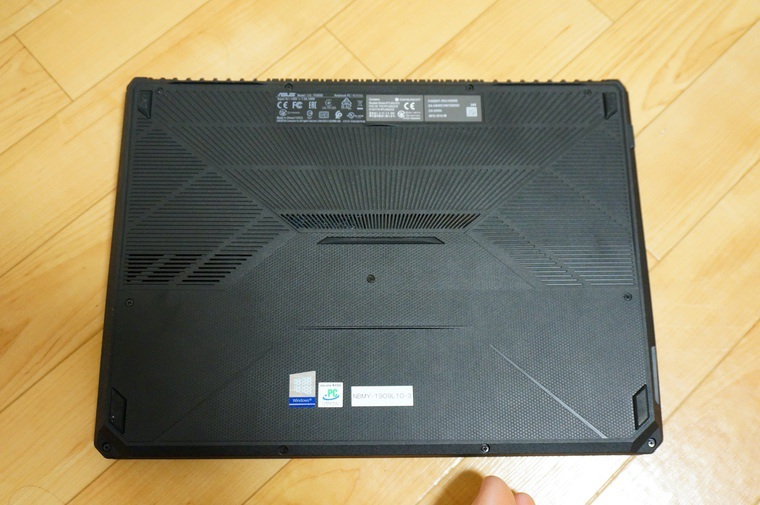 ASUS-FX505DTの裏面